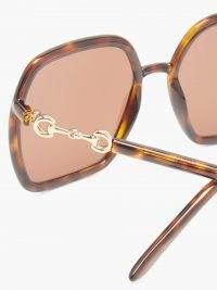 GUCCI Horsebit oversized hexagon tortoiseshell acetate sunglasses / large glamorous 70s style sunnies / womens vintage style eyewear / women's retro accessories