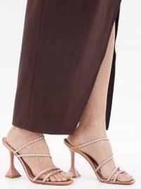 AMINA MUADDI Naima crystal-embellished satin sandals | strappy flared heel party shoes | glamorous evening heels