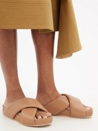 JIL SANDER Padded-strap brown leather slides / wide padded crossover strap sliders / womens chunky sole slider