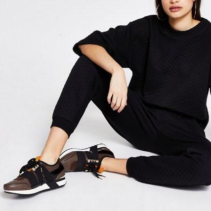 RIVER ISLAND Brown RI monogram runner trainers ~ womens sports shoes ~ women's casual footwear - flipped