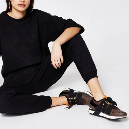 RIVER ISLAND Brown RI monogram runner trainers ~ womens sports shoes ~ women's casual footwear