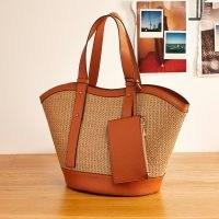 RIVER ISLAND Brown RI studio beach tote bag ~ weave detail leather bags