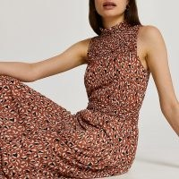 RIVER ISLAND Brown shirred waist animal print midi dress ~ sleeveless high neck dresses