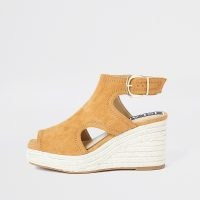 RIVER ISLAND Brown square toe wedge shoes / cut out ankle strap wedges