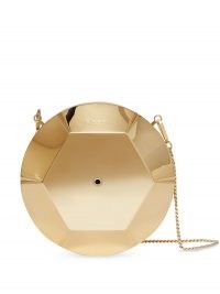 Burberry paillette shaped clutch / circular gold tone occasion bags / shiny round crossbody