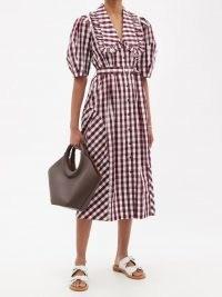 LEE MATHEWS Georgina checked cotton-poplin shirt dress / womens vintage style summer dresses
