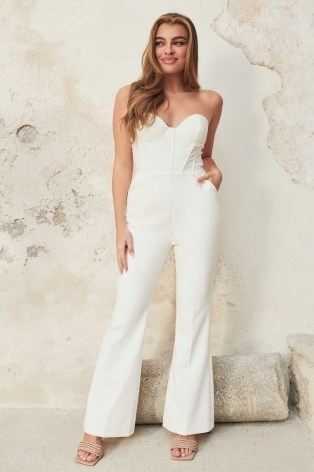 lavish alice bustier corset fit and flare jumpsuit in white | fitted bodice jumpsuits | womens glamorous evening fashion | strapless occasion all-in-one - flipped