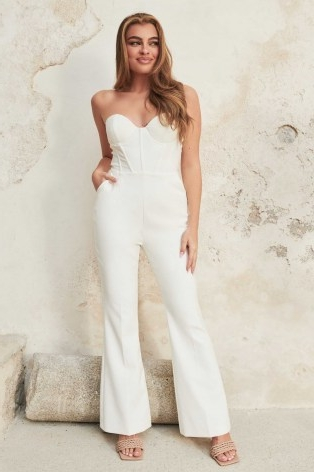 lavish alice bustier corset fit and flare jumpsuit in white | fitted bodice jumpsuits | womens glamorous evening fashion | strapless occasion all-in-one
