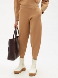 STELLA MCCARTNEY Elasticated-cuff compact-knit trousers in camel