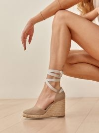 Reformation Camilla Lace Up Wedge Espadrille in Khaki – ankle tie wedged espadrilles – summer wedges