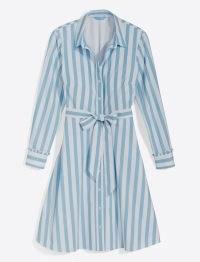 Draper James Carly Shirtdress in Awning Stripe | fresh blue and white striped tie waist shirt dresses | women's summer fashion