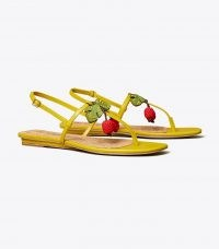TORY BURCH CHERRY SANDAL in Pear / womens fruit embellished strappy flats / women's summer shoes / cherries on footwear