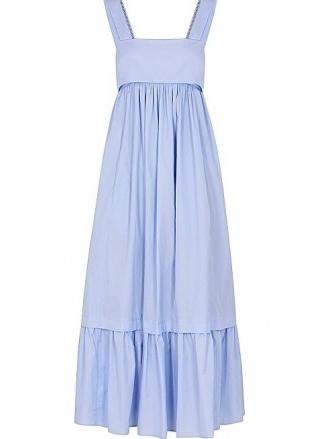 CHLOÉ Light blue cotton-poplin midi dress – vintage style tiered hem sundress – 70s look sundresses - flipped