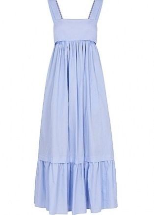 CHLOÉ Light blue cotton-poplin midi dress – vintage style tiered hem sundress – 70s look sundresses