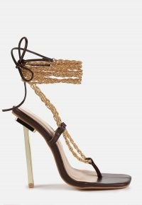 Missguided chocolate chain tie up toe post heeled sandals | strappy barely there square toe high heels | party footwear