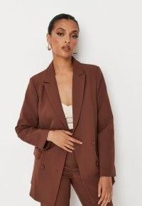 MISSGUIDED chocolate co ord longline tailored blazer ~ women's dark brown blazers