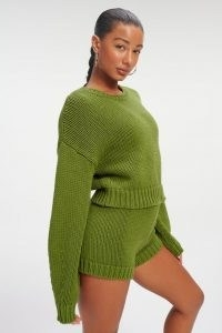 GOOD AMERICAN CHUNKY OVERSIZED SWEATER Pesto001 | green drop shoulder sweaters