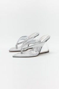 GOOD AMERICAN CINDER-F*CKING-RELLA THONG | silver thonged clear wedge heel sandals