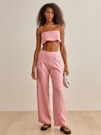 REFORMATION Cleo Linen Two Piece Carnation / womens pink strappy crop top and wide leg trouser set / summer fashion sets / women's co ords