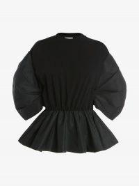 Alexander McQueen Cocoon Sleeve Peplum Top | women's black gathered balloon sleeve tops | womens romantic designer fashion | flared hem