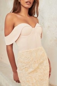 lavish alice corset mini dress with textured floral skirt in champagne ~ luxe style bardot party dresses ~ off the shoulder evening wear