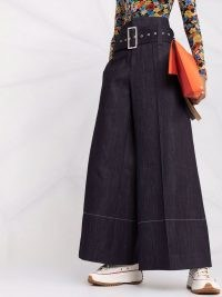 10 CORSO COMO high-waist belted denim trousers | women's extreme wide leg creased trouser