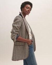 JIGSAW COTTON BOUCLE EMBER COAT ~ womens tweed style textured coats ~ frayed edge ~ women's stylish outerwear