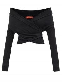 ALTUZARRA Crawley off-the-shoulder wrap sweater ~ black asymmetric bardot tops