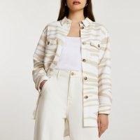 RIVER ISLAND Cream animal print overshirt jacket / women's overshirts / shackets