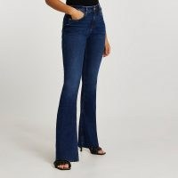 RIVER ISLAND Dark blue mid rise flare jeans | women's denim flares