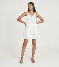 REISS DEBORA EMBROIDERED MINI DRESS WHITE ~ strappy cotton sundress ~ skinny strap summer dresses