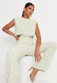 MISSGUIDED delaney childs edit lime cropped boxy shoulder pad sleeveless top ~ boxy boucle frayed hem tops ~ textured fabric ~ womens tweed style fashion