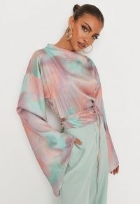 MISSGUIDED delaney childs edit peach tie dye satin tie waist flare sleeve top / wide sleeved tops