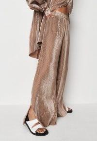 MISSGUIDED delaney childs edit premium champagne satin plisse trousers ~ womens split hem wide leg pants