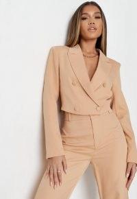 MISSGUIDED delaney childs edit tall beige co ord cropped blazer ~ womens crop hem blazers ~ women's bolero style jackets
