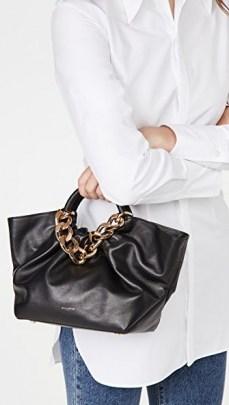 DeMellier Midi Los Angeles Tote Black / small top handle handbags / chunky chain detail bags - flipped
