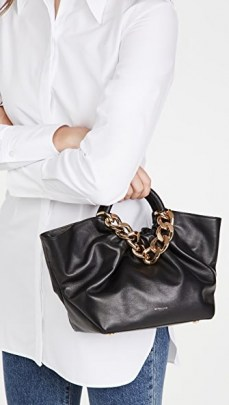 DeMellier Midi Los Angeles Tote Black / small top handle handbags / chunky chain detail bags