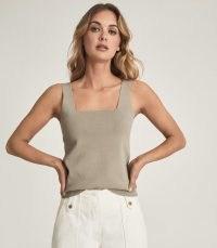 REISS DEVON SQUARE NECK VEST TOP SAGE – chic & casual women's tops