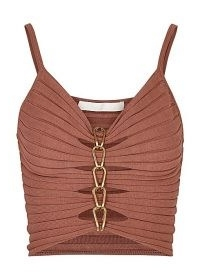 DION LEE Rose chain-embellished ribbed-knit top ~ thin strap cut out tops