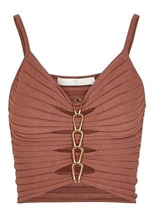 DION LEE Rose chain-embellished ribbed-knit top ~ thin strap cut out tops - flipped
