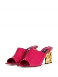 Dolce & Gabbana DG-heel mules in pink – womens bright peep toe logo heel sandals