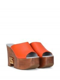 Dolce & Gabbana logo-plaque wedge sandals | chunky orange wedged mules | retro wedges