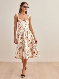 REFORMATION Dolci Linen Dress in Fruity / fruit print fashion / classic summer fit and flare dresses