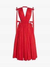 Alexander McQueen Drawstring Ribbon Tie Dress in Welsh Red | sleeveless plunge front open back designer dresses | deep V plunging necklines | womens event wear