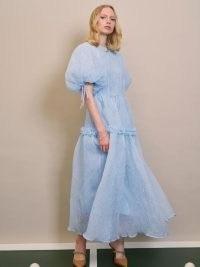 sister jane DREAM Ladies Finals Midi Dress   womens romantic vintage style fashion   blue puff sleeve oversized midi dresses   crinkle effect organza fabric