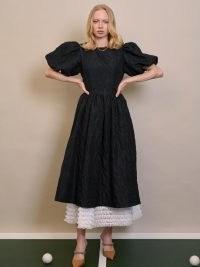 sister jane Doubles Jacquard Midi Dress Black   dream strawberry court   romantic puff sleeve layered dresses