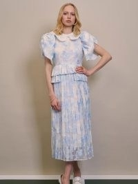 sister jane DREAM Rally Floral Pleated Midi Dress   vintage style occasion dresses   womens puff sleeve fashion