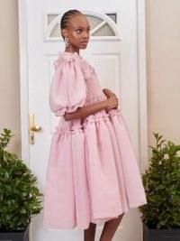 sister jane DREAM Eva Oversized Midi Dress – womens pink romantic smocked bodice dresses – frill trim fashion