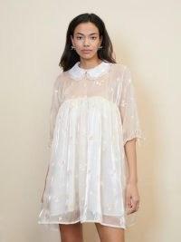 sister jane STRAWBERRY COURT Set Bloom Mini Smock Dress – sheer-overlay floral embroidered dresses