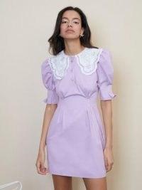 sister jane Tournament Collar Mini Dress Lilac – cotton puff sleeve oversized collar dresses